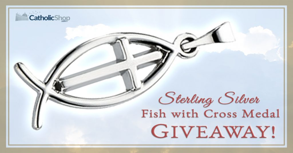 Catholic shop online religious gifts and jewelry store this weeks giveaway is a sterling silver fish with cross pendant the international symbol of christianity enter now for your chance to win aloadofball Images