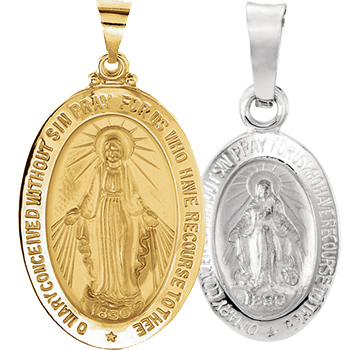 Catholic jewelry Miraculous medals Patron Saints Gold and Silver