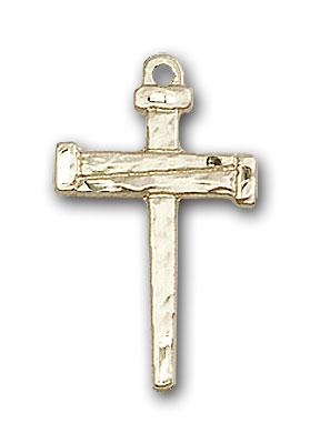 14K Gold Nail Cross Pendant
