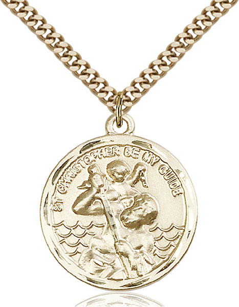Round Gold-Filled St. Christopher Pendant - Engrave it!