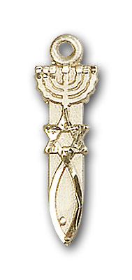 14K Gold Menorah / Star / Fish Pendant