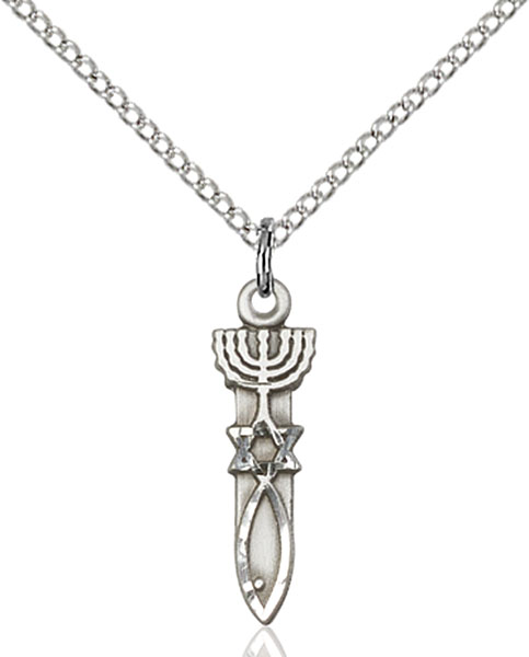 Sterling Silver Menorah / Star / Fish Pendant