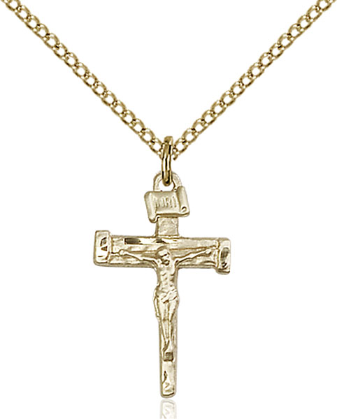 Gold-Filled Nail Crucifix Pendant