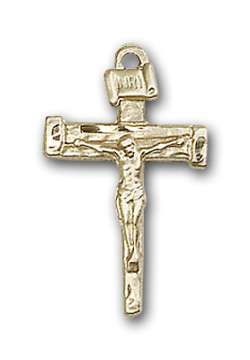 14K Gold Nail Crucifix Pendant