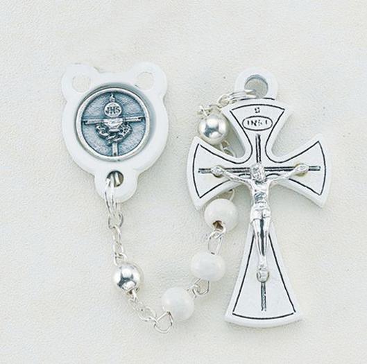 4MM White Communion Wood Rosary