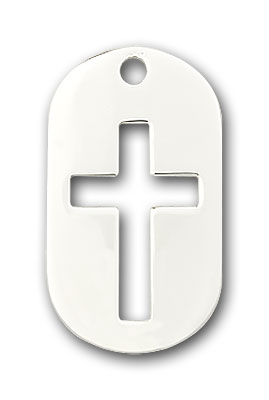 Sterling Silver Cross Dog Tag Pendant