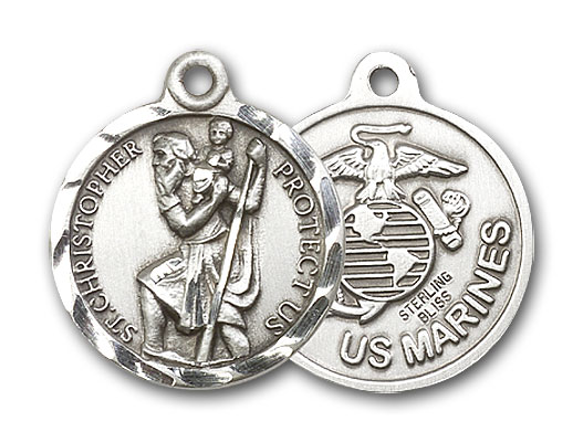 Sterling Silver St. Christopher U.S. Marines Pendant