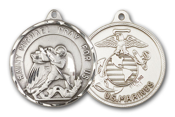 Sterling Silver St. Michael / Marines Pendant