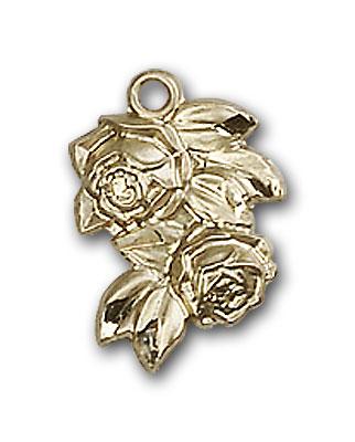 14K Gold Rose Pendant