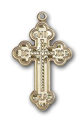 14K Gold Russian Cross Pendant