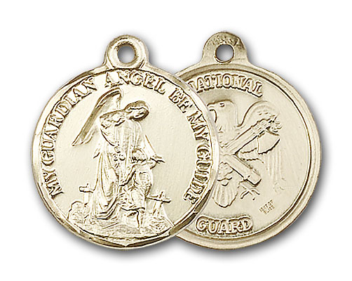 14K Gold Guardain Angel & National Guard Pendant