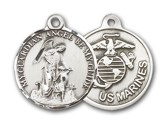 Sterling Silver Guardain Angel / Marines Pendant