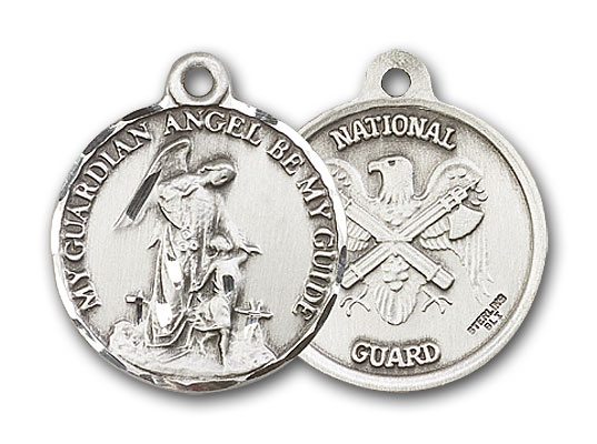 Sterling Silver Guardian Angel & National Guard Pendant