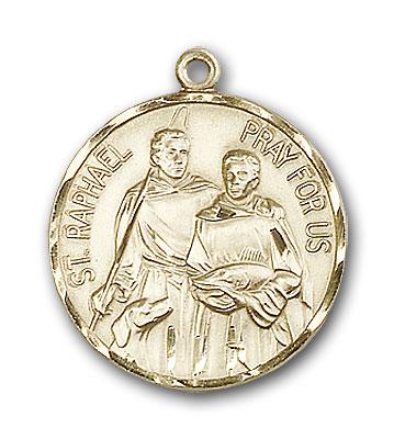 14K Gold St. Raphael the Archangel Pendant - Engravable