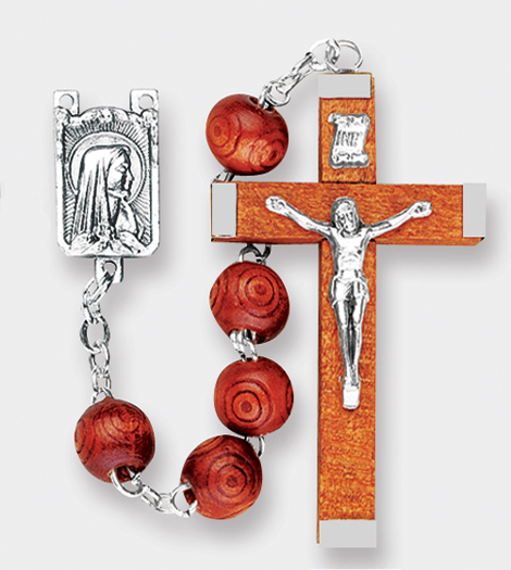 Natural Color Wood Carved Bead Rosary
