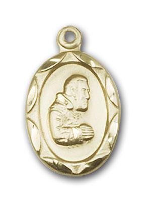 14K Gold St. Pio of Pietrelcina Pendant - Engravable