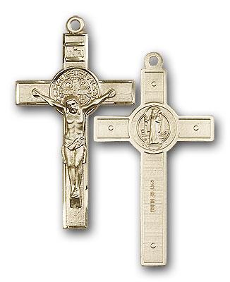 14K Gold St. Benedict Crucifix Pendant