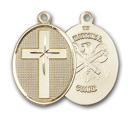 Gold-Filled Cross / National Guard Pendant