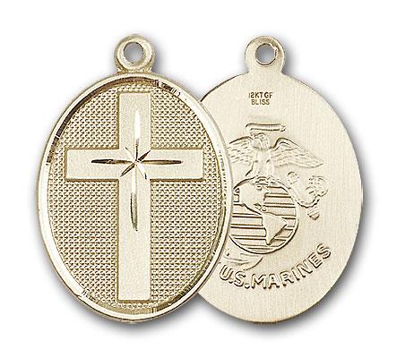 14K Gold Cross / Marines Pendant