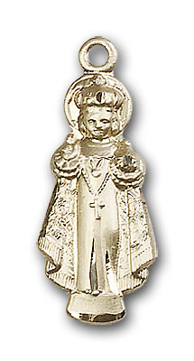 14K Gold Infant of Prague Pendant - Engravable