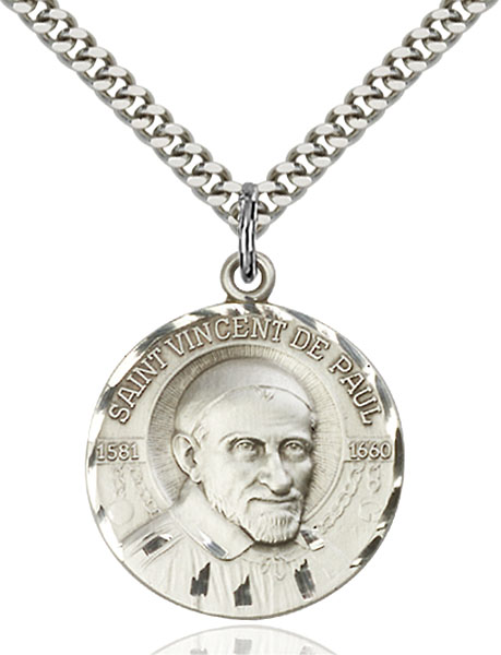 Sterling Silver St. Vincent De Paul Pendant