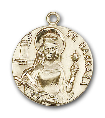 14K Gold St. Barbara Pendant - Engravable