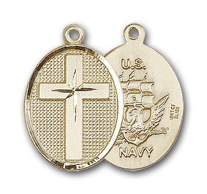 Gold-Filled Cross / Navy Pendant