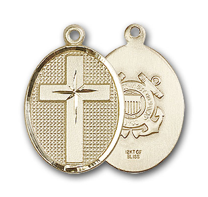 14K Gold Cross / Coast Guard Pendant