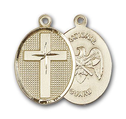 14K Gold Cross / National Guard Pendant