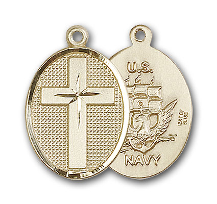 14K Gold Cross / Navy Pendant