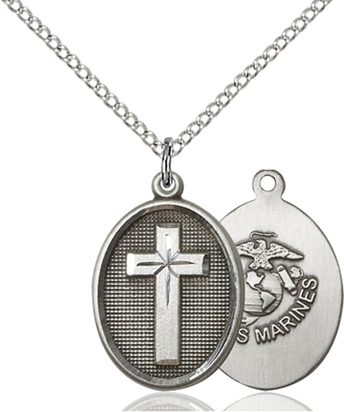 Sterling Silver Cross / Marines Pendant