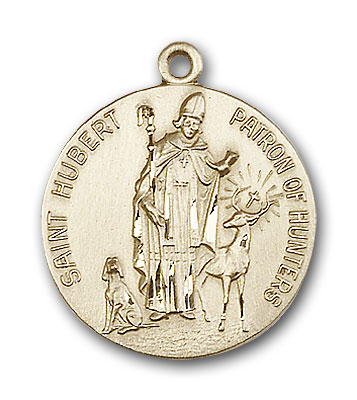 14K Gold St. Hubert of Liege Pendant - Engravable
