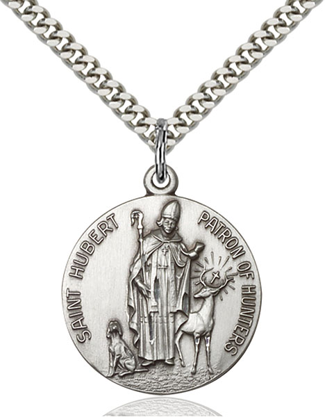 Sterling Silver St. Hubert of Liege Pendant