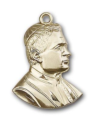 14K Gold Saint Pius X Pendant - Engravable