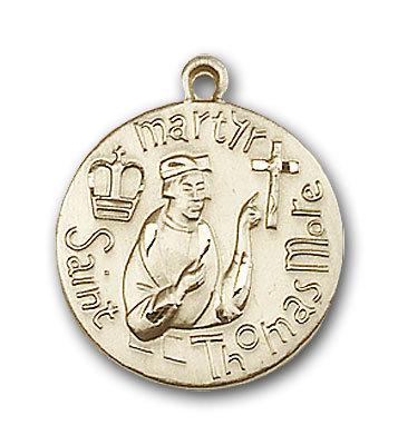14K Gold St. Thomas More Pendant - Engravable