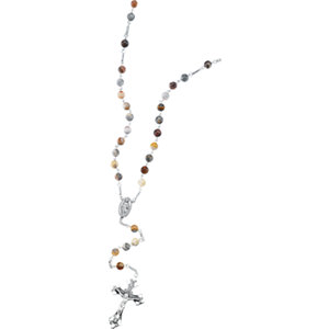 Lace Agate & Sterling Silver Rosary