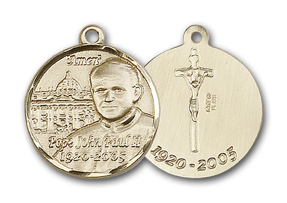 14K Gold Pope John Paul II Pendant - Engravable