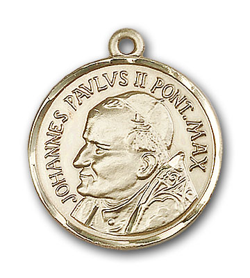 14K Gold St. Pope John Paul II Pendant - Engravable