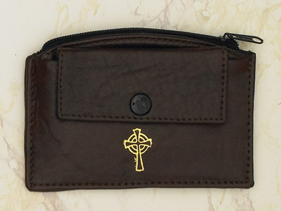 6-Pack - Brown Leather Rosary Case with Zipper and Snap Pocket- Cross