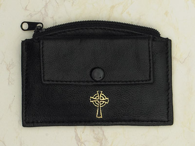 6-Pack - Black Leather Rosary Case with Zipper and Snap Pocket- Cross
