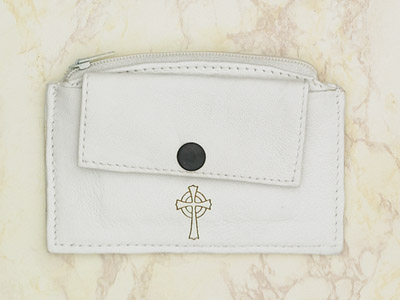 6-Pack - White Leather Rosary Case with Zipper and Snap Pocket- Cross