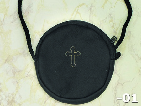 "6-Pack - Black Round Rosary/Pyx Case- 4"" x 3-1/2"""