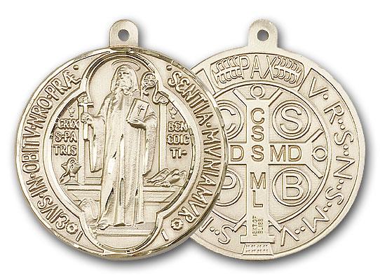 14K Gold St. Benedict Pendant - Engravable