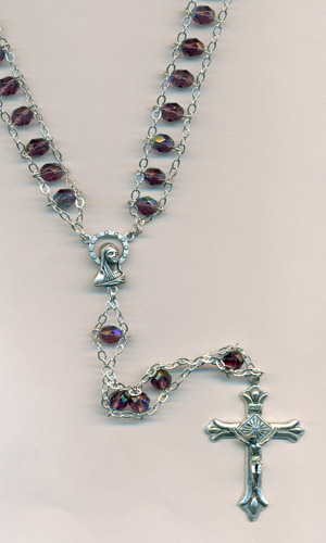 6mm Glass Ladder Rosary Amethyst