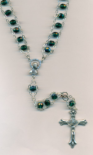 6mm Glass Ladder Rosary Green