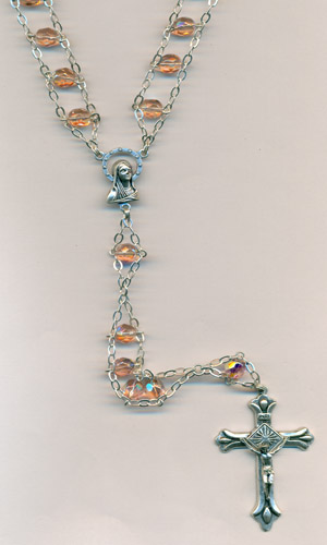 6mm Glass Ladder Rosary Peach