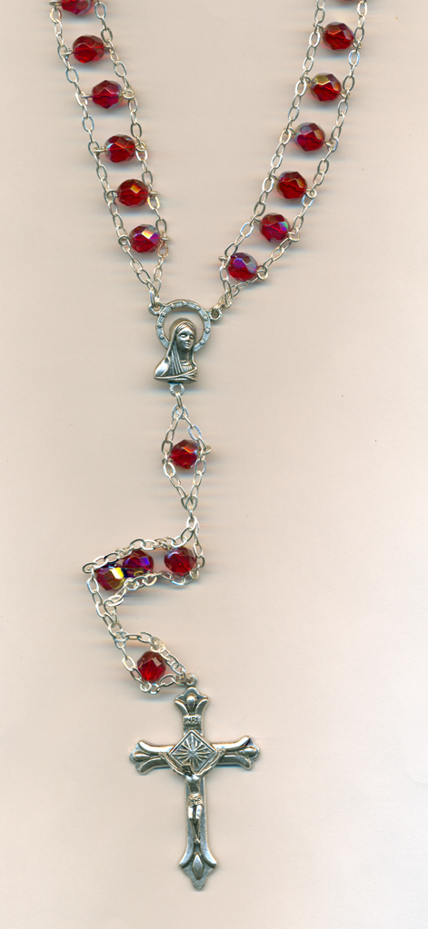 6mm Glass Ladder Rosary Red