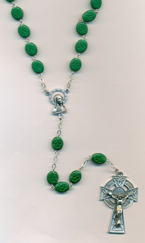 Irish Rosary with Shamrocks engraved on beads