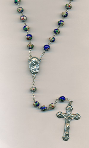 Blue Genuine Cloisonne Rosary- 8mm beads