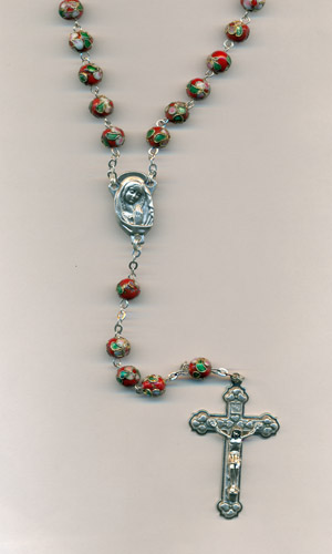 Red Genuine Cloisonne Rosary- 8mm beads